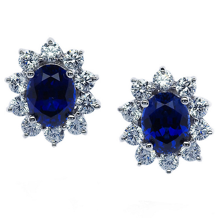 Carat Silver Created Sapphire Stud Earrings - Product number 4959094