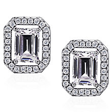 Carat Silver Emerald Cut Stone Set Stud Earrings - Product number 4959116