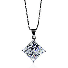 Carat 9ct White Gold Princess Cut Stone Set Pendant - Product number 4959124