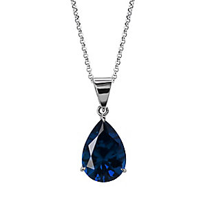 Carat 9ct White Gold Blue Stone Set Pendant - Product number 4959256