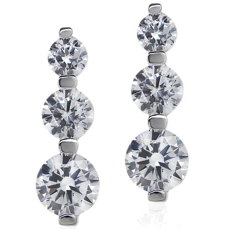 Carat 9ct White Gold Trilogy Earrings - Product number 4959507