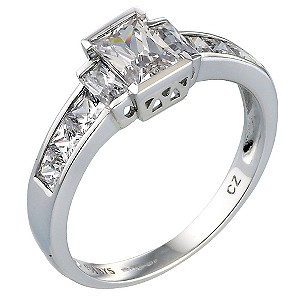 9ct White Gold Three Stone with Channel Set Shoulder Ring