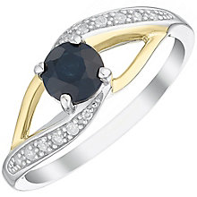 Sterling Silver & 9ct Gold Black Sapphire & Diamond Ring - Product number 4964535