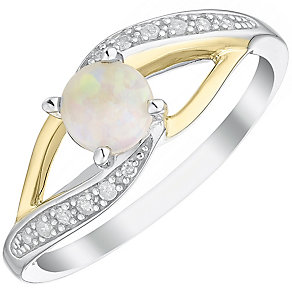 Sterling Silver & 9ct Gold Opal & Diamond Ring - Product number 4964675