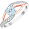 Silver Rose Gold Blue Topaz and 1/2ct Diamond Ring - Product number 4964802