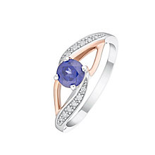 Silver & 9ct Rose Gold Created Tanzanite & Diamond Ring - Product number 4964969