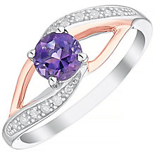 Sterling Silver & 9ct Rose Gold Amethyst & Diamond Ring - Product number 4965213