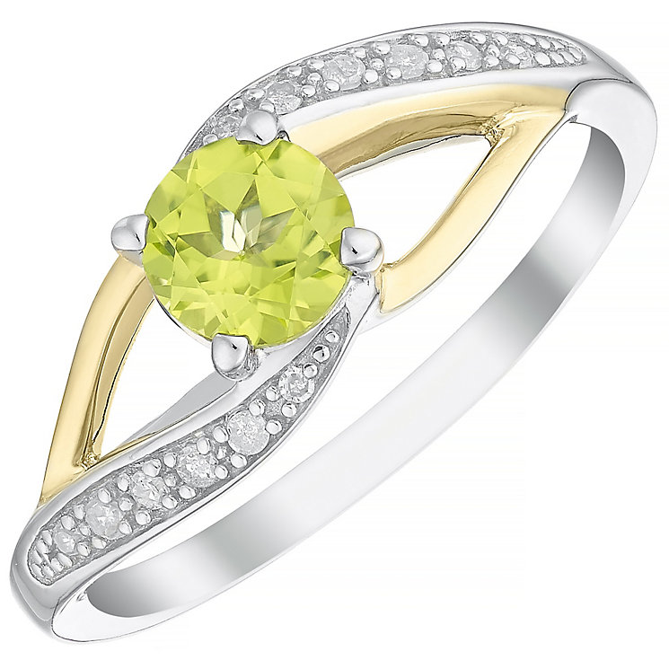Sterling Silver & 9ct Gold Peridot & Diamond Ring - Product number 4965957