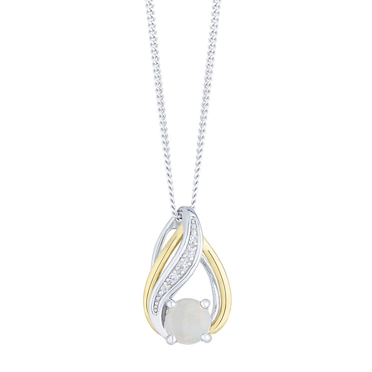Sterling Silver & 9ct Gold Opal & Diamond Pendant - Product number 4966279