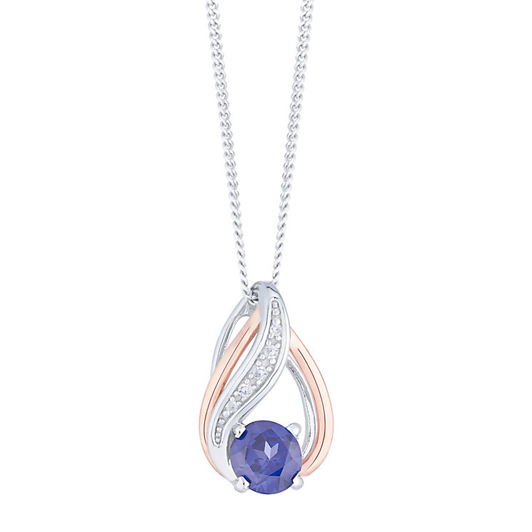 Silver & 9ct Rose Gold Created Tanzanite & Diamond Pendant - Product number 4966317