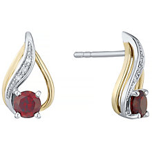 Silver & 9ct Gold Garnet & Diamond Stud Earrings - Product number 4966341
