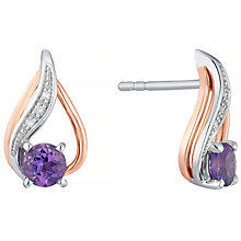 Silver & 9ct Rose Gold Amethyst & Diamond Stud Earrings - Product number 4966376