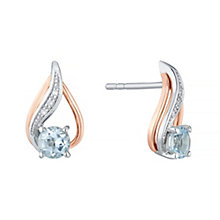Silver & 9ct Rose Gold Aquamarine & Diamond Stud Earrings - Product number 4966392