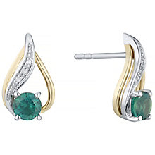 Silver & 9ct Gold Created Emerald & Diamond Stud Earrings - Product number 4966414