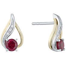Silver & 9ct Gold Created Ruby & Diamond Stud Earrings - Product number 4966430