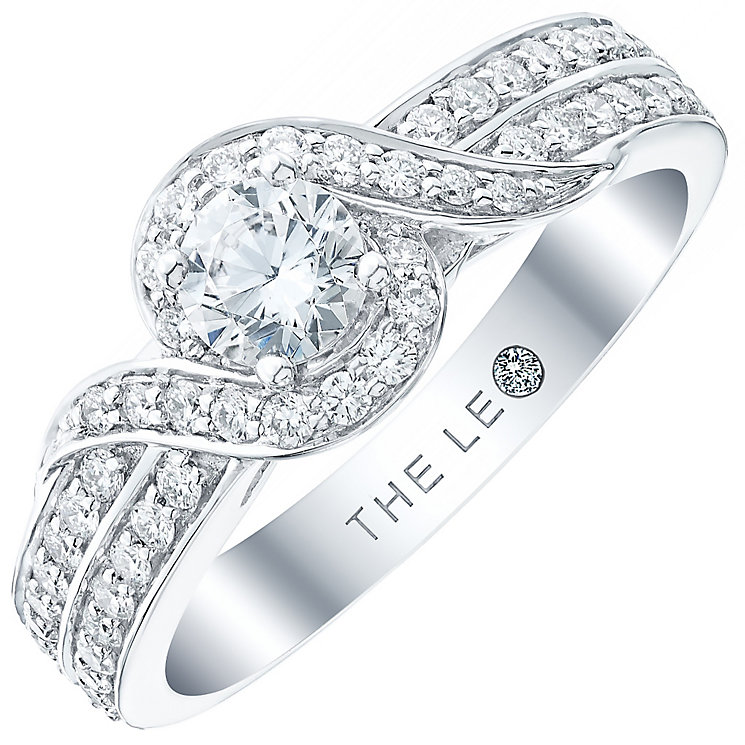 Leo Diamond 18ct White Gold 0.75ct Diamond Twisted Halo Ring - Product number 4968492