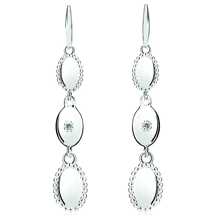 Chamilia Sterling Silver Oval Long Drop Earrings - Product number 4969545