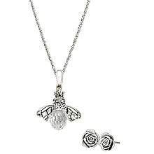 Chamilia Sterling Silver Flower Earrings and Bee Pendant Set - Product number 4969553