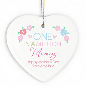 Personalised One in a Million Ceramic Heart Decoration - Product number 4969731