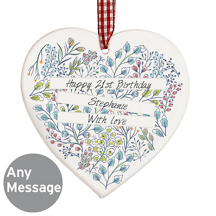 Personalised Botanical Wooden Heart Decoration - Product number 4969790