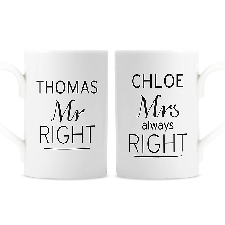 Personalised Classic Mr Right/Mrs Always Right Mug Set - Product number 4970322