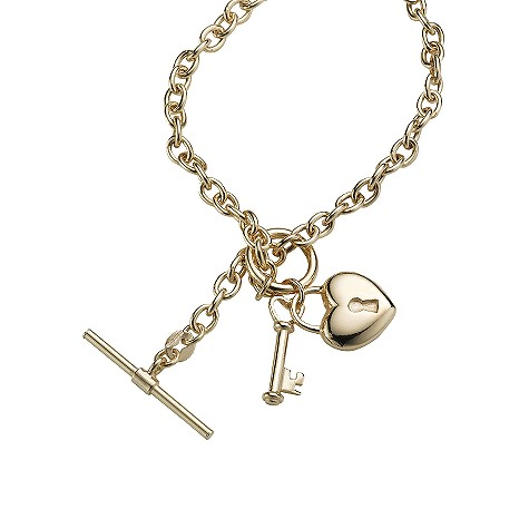9ct gold padlock and key charm necklace
