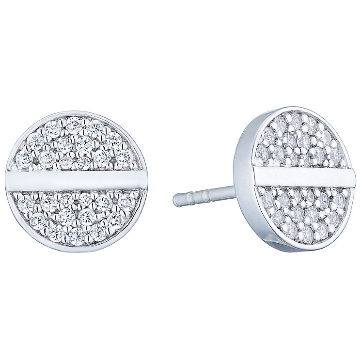 Sterling Silver Cubic Zirconia Set Disc Stud Earrings - Product number 4975138