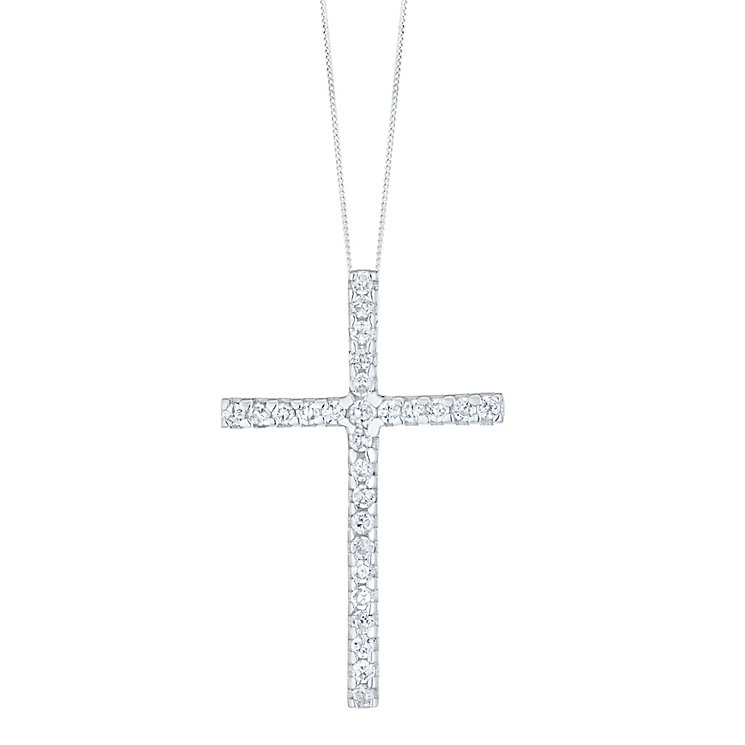 "Sterling Silver Cubic Zirconia Set Large Cross Pendant 18"" - Product number 4975154"