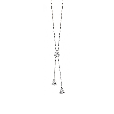 9ct white gold cubic zirconia drop necklace