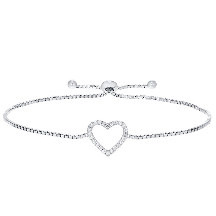 Sterling Silver Cubic Zirconia Set Heart Bolo Bracelet - Product number 4975596