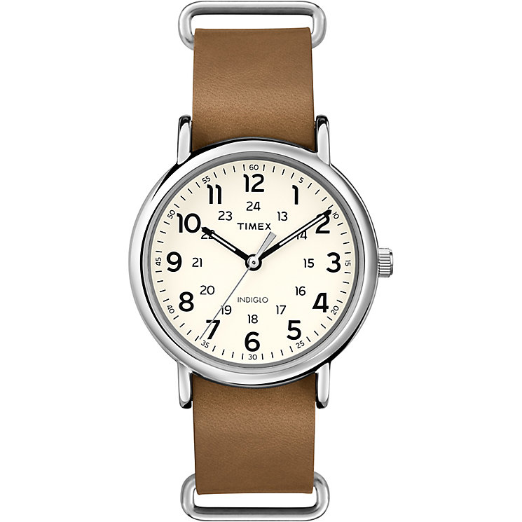 Timex Weekender Men's Brown Leather Strap White Dial Watch - Product number 4978137