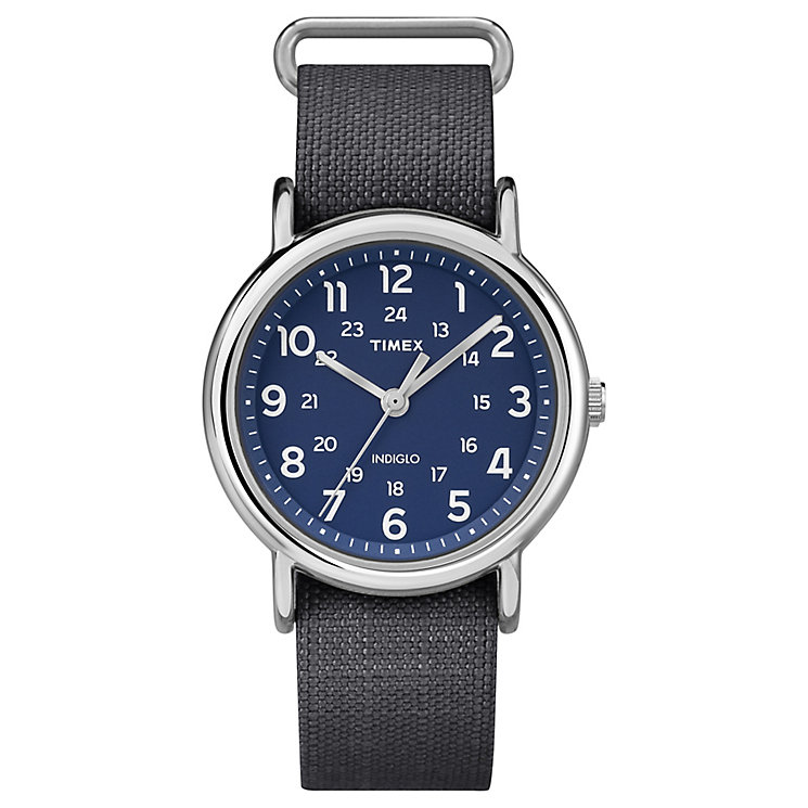 Timex Weekender Men's Grey Fabric Strap Blue Dial Watch - Product number 4978161