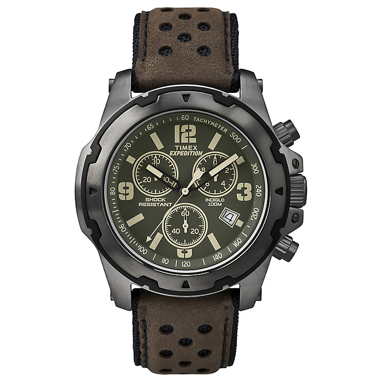 Timex Expedition Sierra Men's Brown Strap Green Dial Watch - Product number 4978463