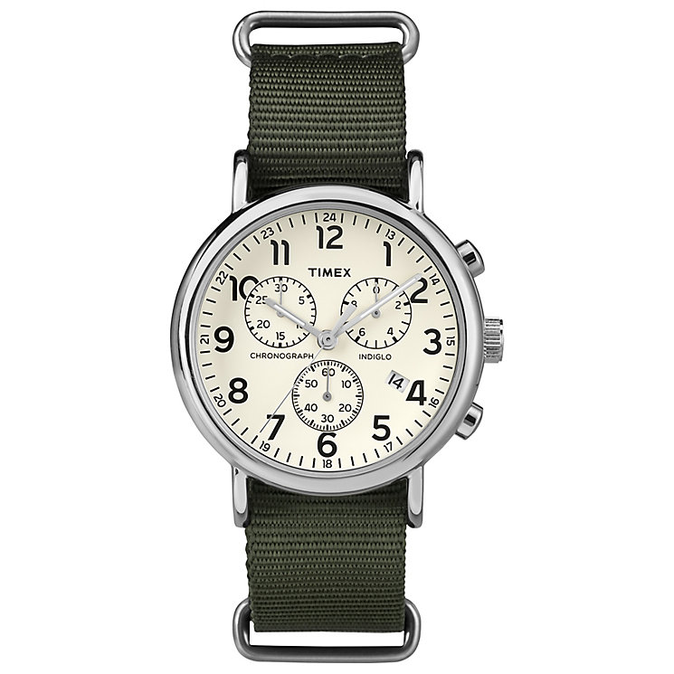 Timex Weekender Chronograph Slip Through Watch Cream Dial - Product number 4978595
