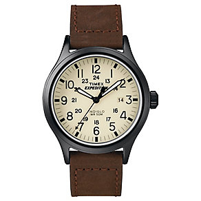 Timex Expedition Men's Brown Leather Strap Brown Dial Watch - Product number 4978609