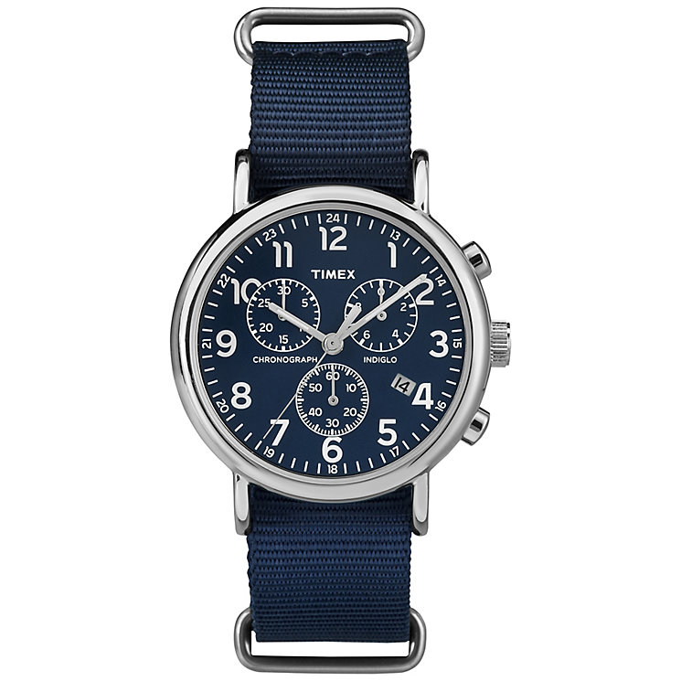 Timex Weekender Chronograph Slip Through Watch Blue Dial - Product number 4978625