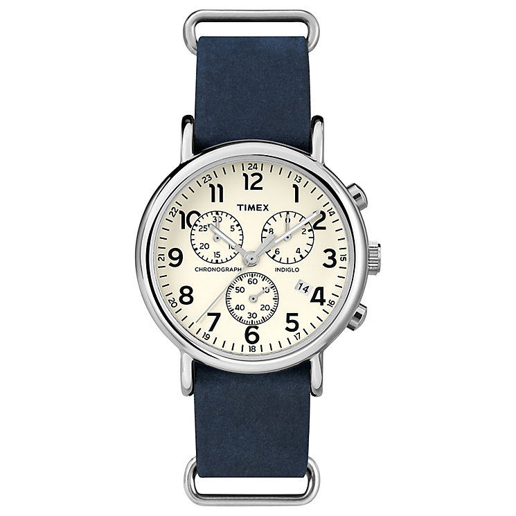 Timex Weekender Cream Chronograph Slip Through Watch - Product number 4978676