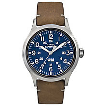 Timex Expedition Men's Tan Leather Strap Blue Dial Watch - Product number 4978706