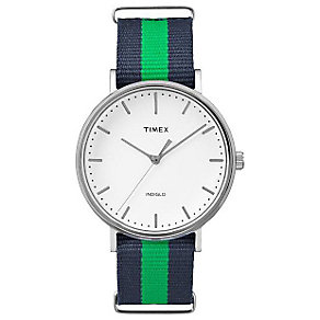 Timex Weekender Fairfield Blue and Green Striped Watch - Product number 4978870