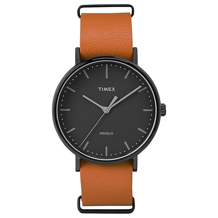 Timex Weekender Fairfield Black Dial Orange Strap Watch - Product number 4978900