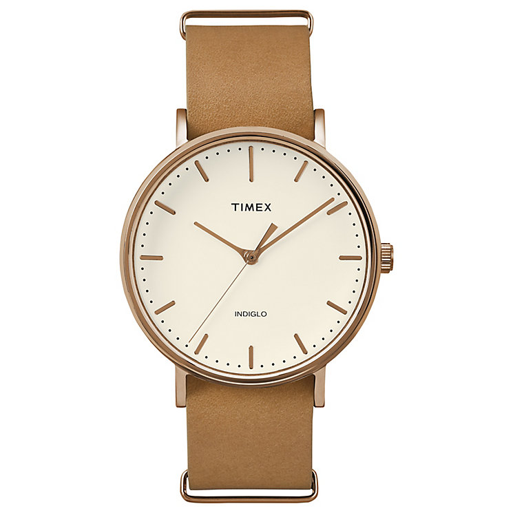 Timex Weekender Fairfield Natural Dial Tan Leather Watch - Product number 4978927