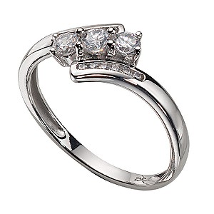 9ct White Gold Cubic Zirconia Three-stone Ring
