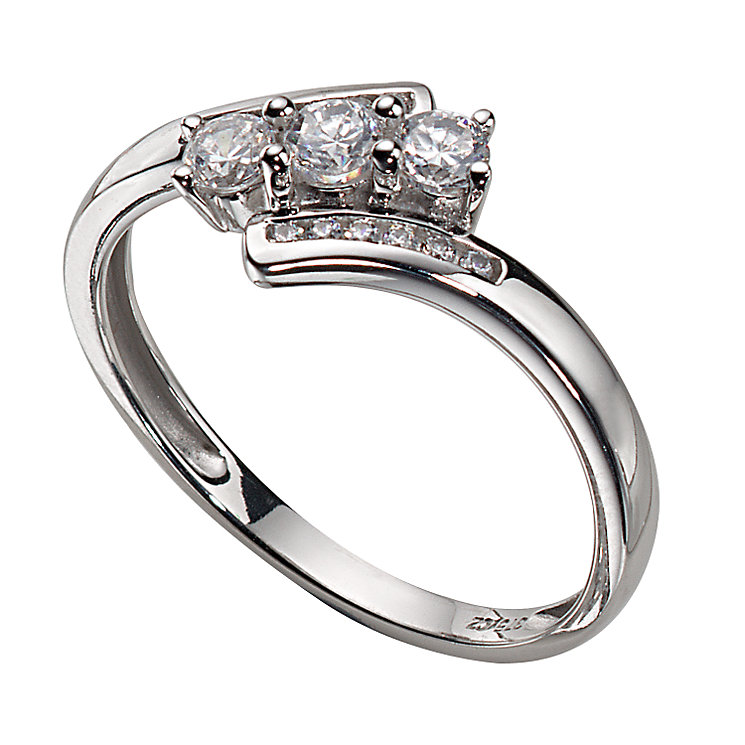9ct White Gold Cubic Zirconia Three-stone Ring - Product number 4979605