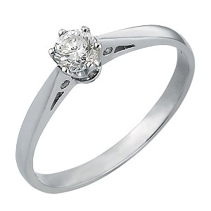 18ct White Gold 1/4 Carat Solitaire Ring