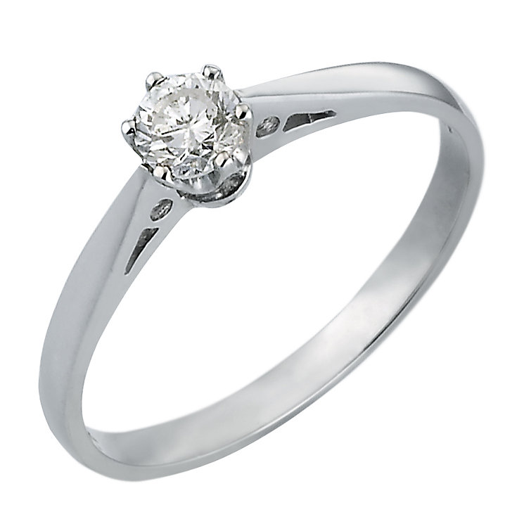 18ct White Gold 1/4 Carat Solitaire Ring - Product number 4984358