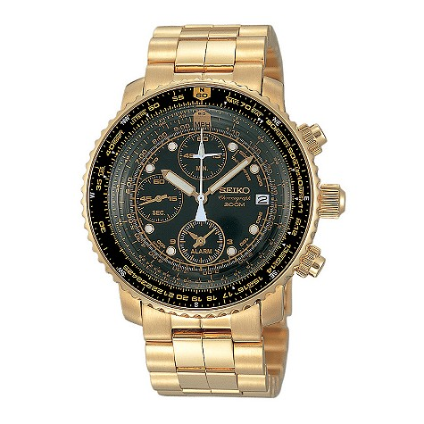 Seiko mens gold-plated pilot's watch