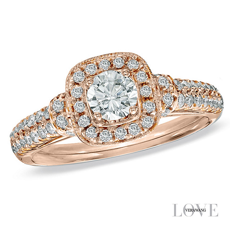 Vera Wang 18ct rose gold 70pt diamond cushion halo ring - Product number 4989252