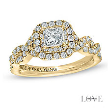 Vera Wang 18ct yellow gold 95pt diamond double halo ring - Product number 4990498