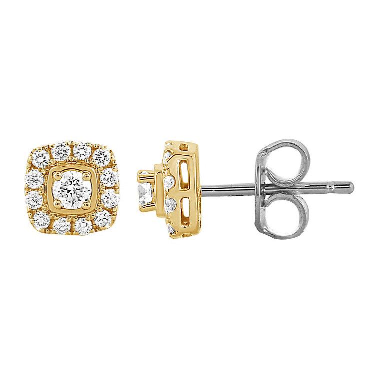 Leo Diamond 18ct Yellow Gold 0.40ct I I1 Diamond Earrings - Product number 4993934