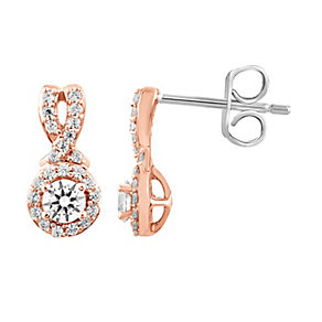 Leo Diamond 18ct Rose Gold 1/2ct I I1 Diamond Earrings - Product number 4993985